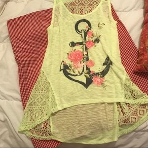 Wound Up Yellow Rise Anchor Tank Top sz L